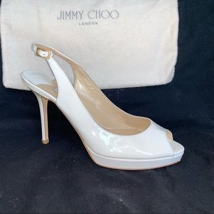 Jimmy Choo White Patent Platform Slingback 37
